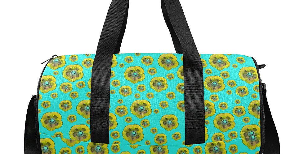 Flower Power Aqua/Yellow - Gym / Workout / Camping / Travel Duffel Bag