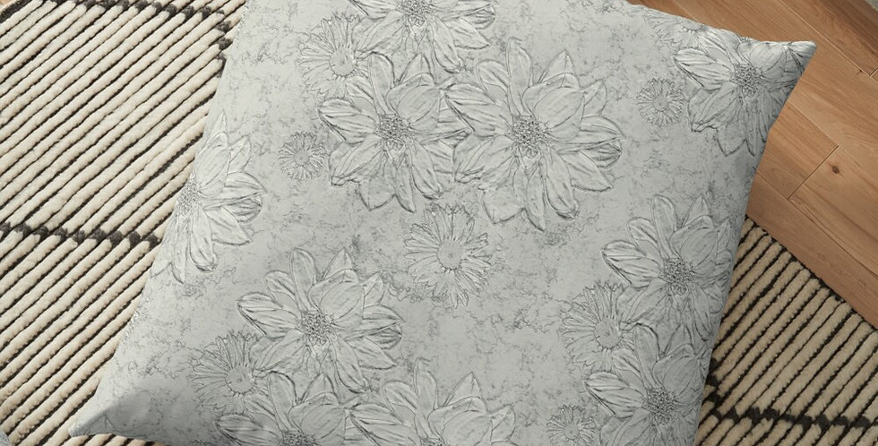 Embossed Floral Soft Grey - Cushion Cover