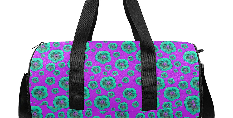 Flower Power Pink/Aqua - Gym / Workout / Camping / Travel Duffel Bag