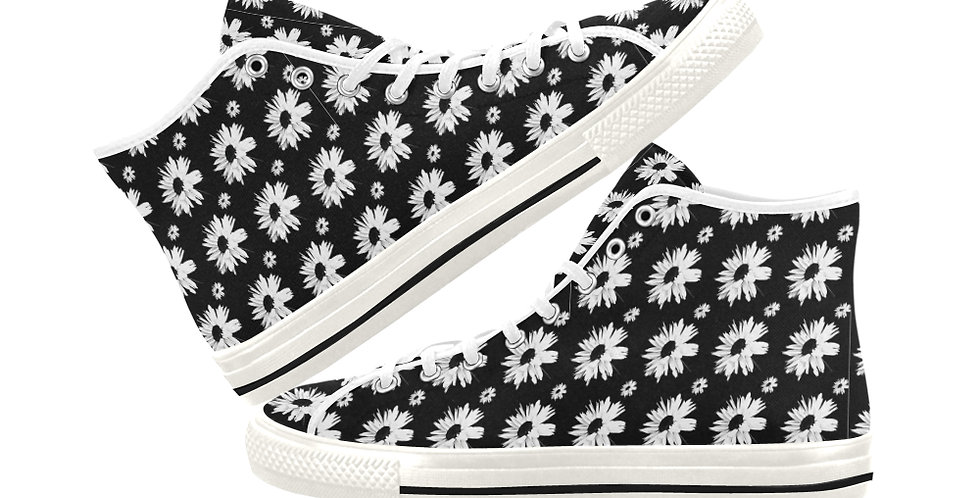 Bunch of Daisies Black & White - Women's High Top Canvas Sneakers