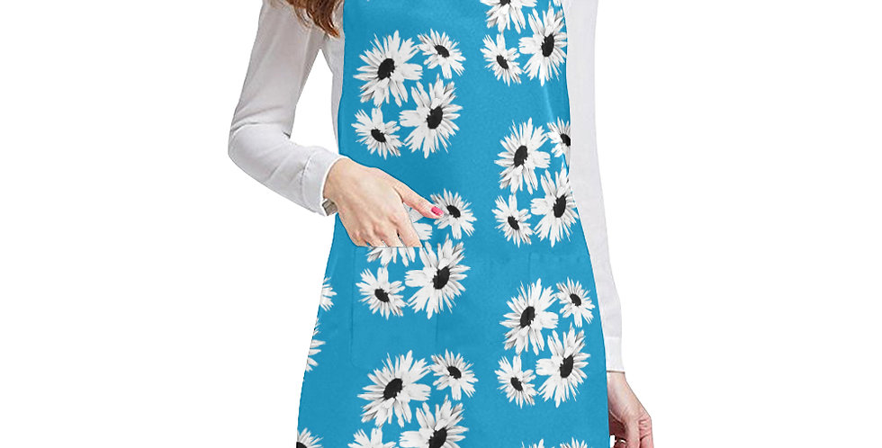 Bunch of Daisies Blue Apron - Adjustable