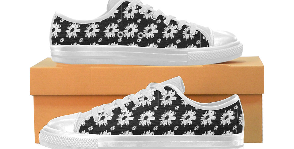 Bunch of Daisies Black - Women's Canvas Sneakers