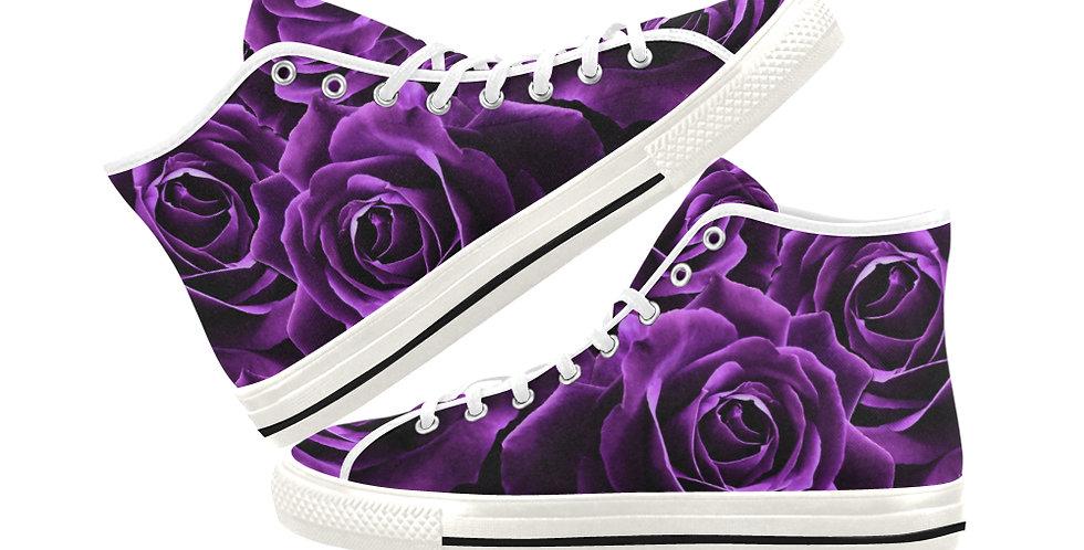 Velvet Roses Purple - Women's High Top Canvas Sneakers