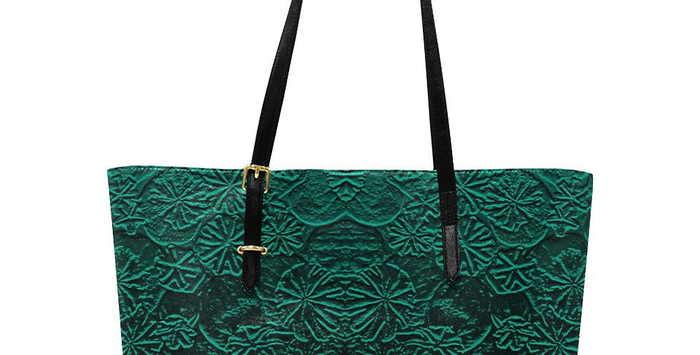 Embossed Poppies Emerald Green - Large Tote Bag