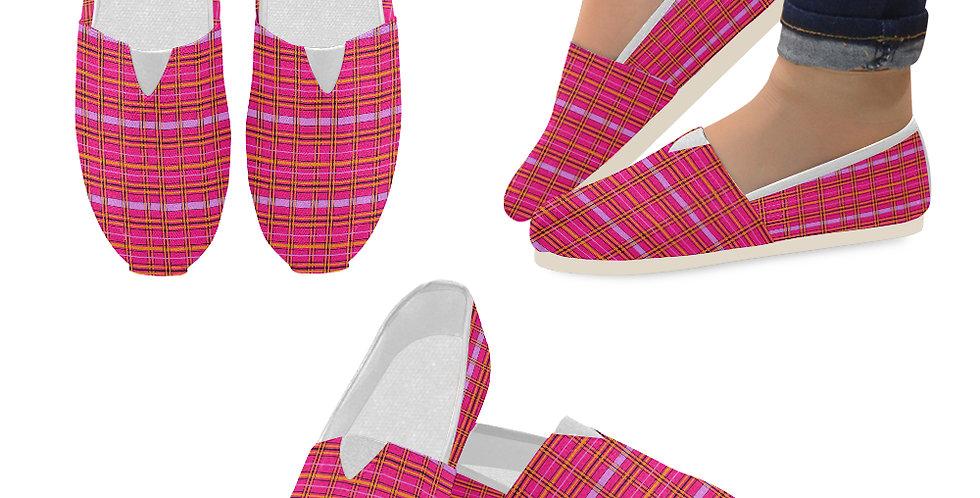 Tartan & Poppies - Orange & Pink - Tartan - Slip On Canvas Shoes