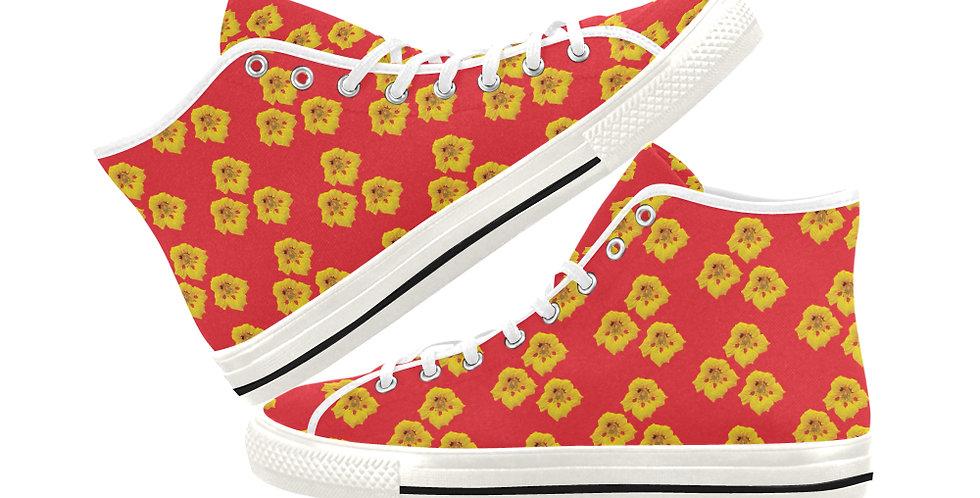 Ladybug Nasturtium (small print) - Women's High Top Canvas Sneakers