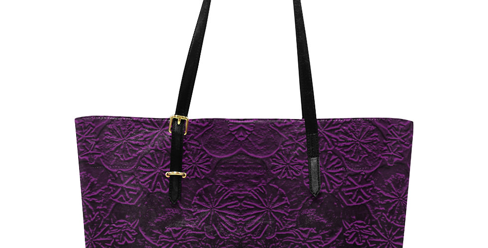 Embossed Poppies Purple - Large Tote Bag