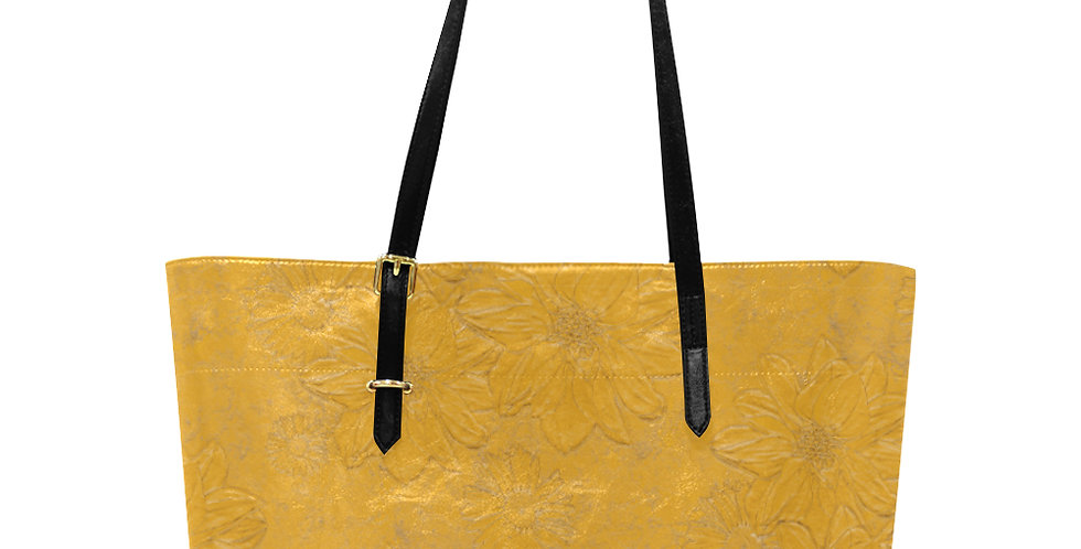 Embossed Floral Yellow - Large Tote Bag