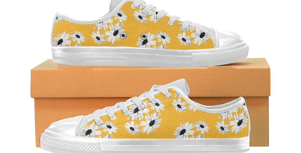 Bunch of Daisies Yellow - Women's Canvas Sneakers
