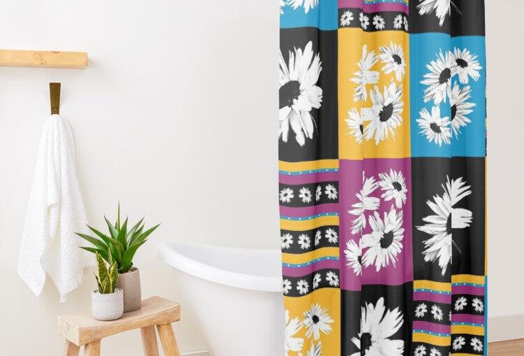 Daisy Love Patchwork - Shower Curtain