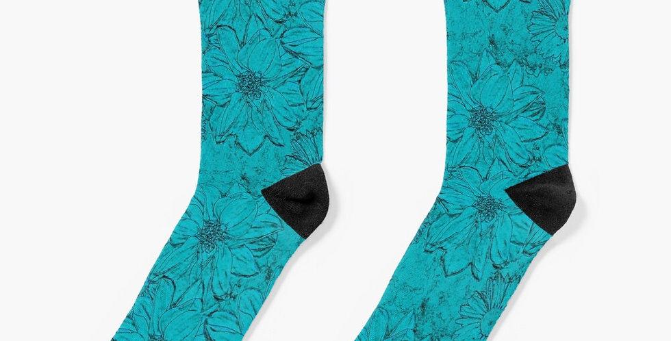 Embossed Floral Blue - Socks