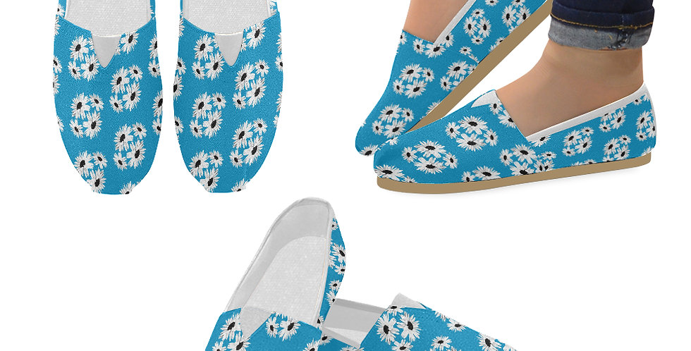 Bunch of Daisies Blue (small print) - Slip On Canvas Shoes