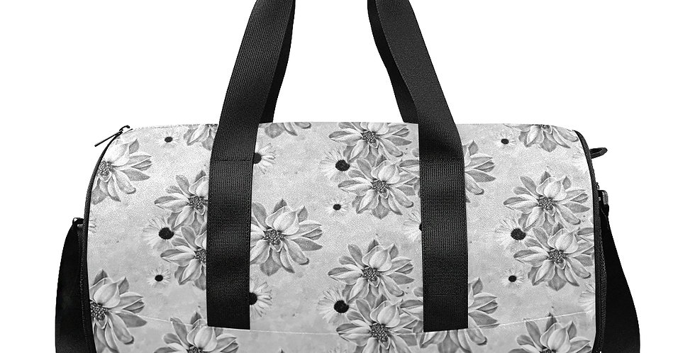 Floral Grey - Workout/Camping/Travel Duffel Bag