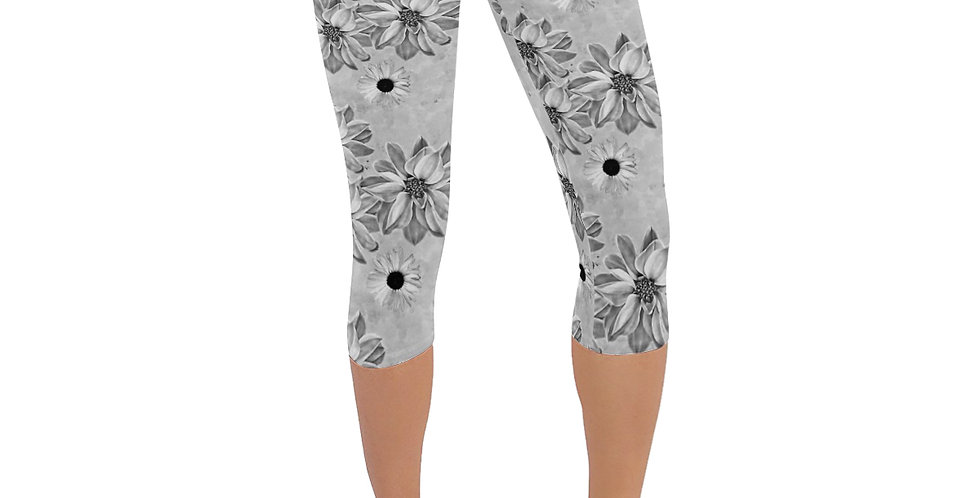 Floral Grey - Leggings 3/4