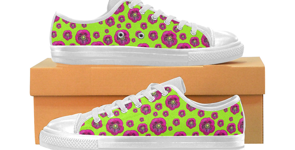 Poppies Lime Green/Purple - Women's Canvas Sneakers