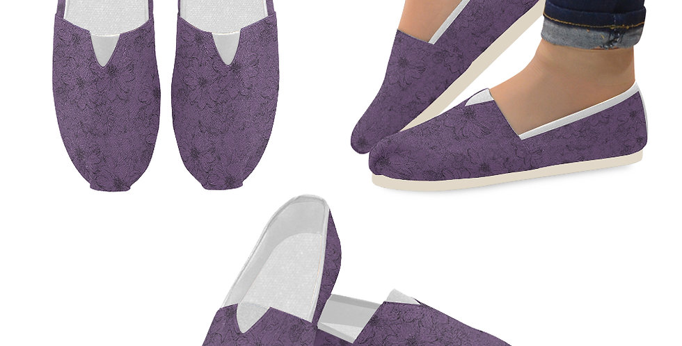 Embossed Floral Purple - Slip On Canvas Shoes