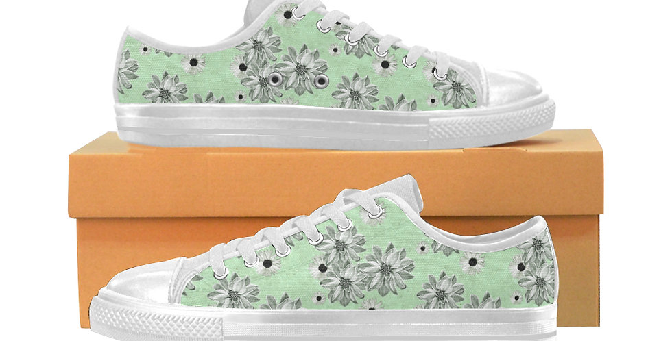 Floral Green - Women's Canvas Sneakers
