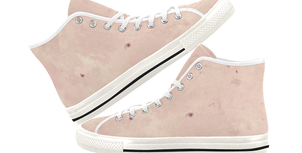 Pink Blush - Women's High Top Canvas Sneakers