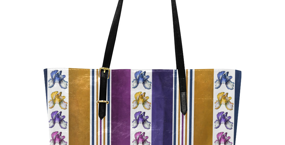 Rainbow Iris Stripes - Large Tote Bag