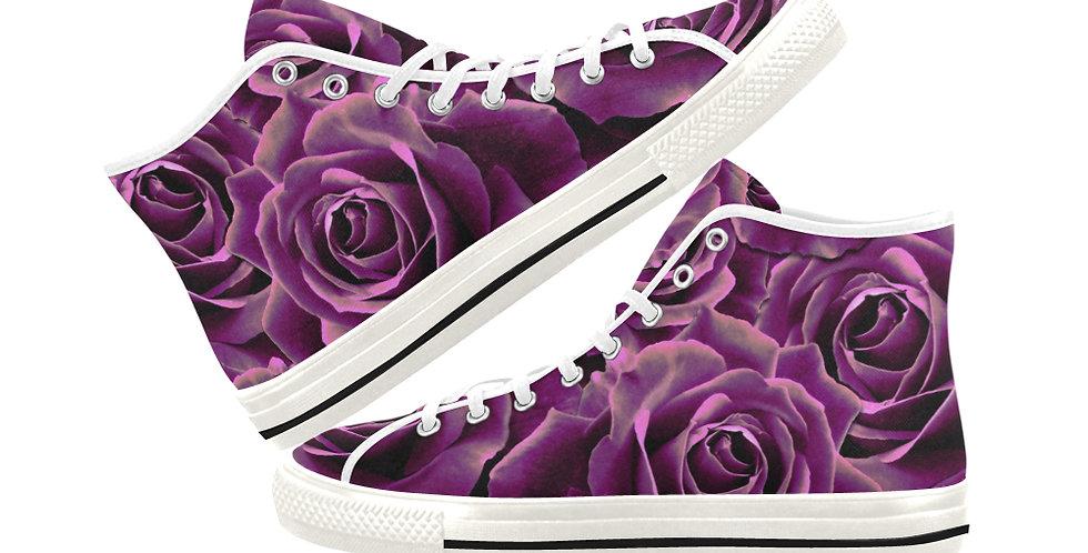 Velvet Roses Pink - Women's High Top Canvas Sneakers