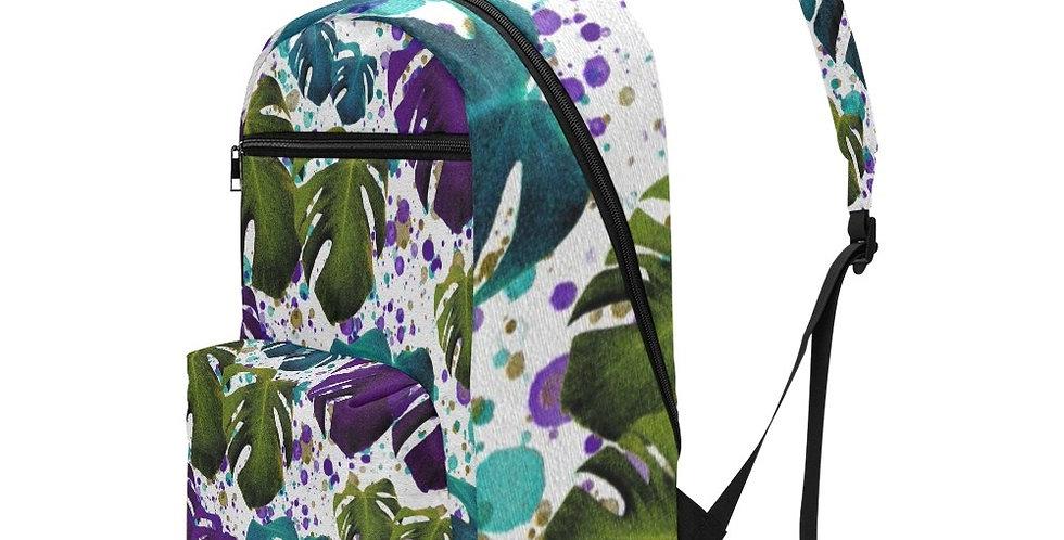 Monstera Purple/Teal - Travel Backpack (Large Capacity)