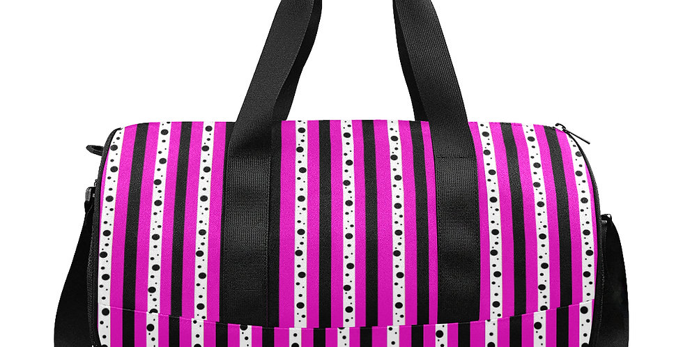 Sweet Pea Passion Stripes - Gym / Workout / Camping / Travel Duffel Bag