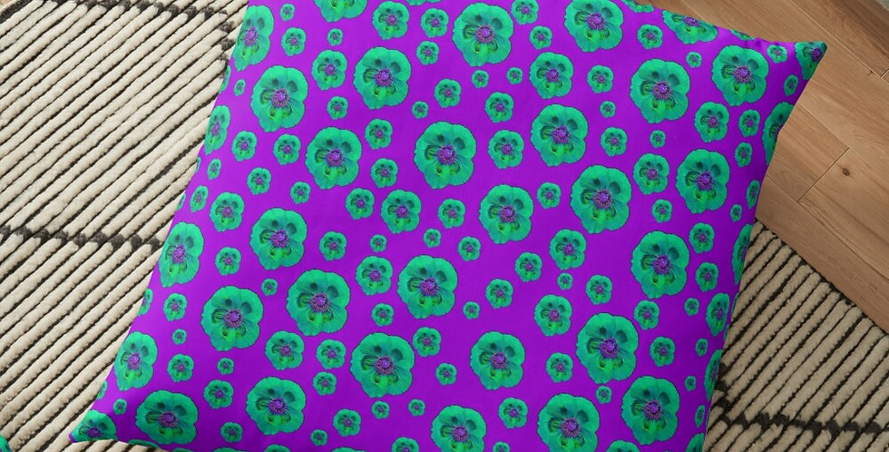 Flower Power - Purple / Aqua - Cushion Cover