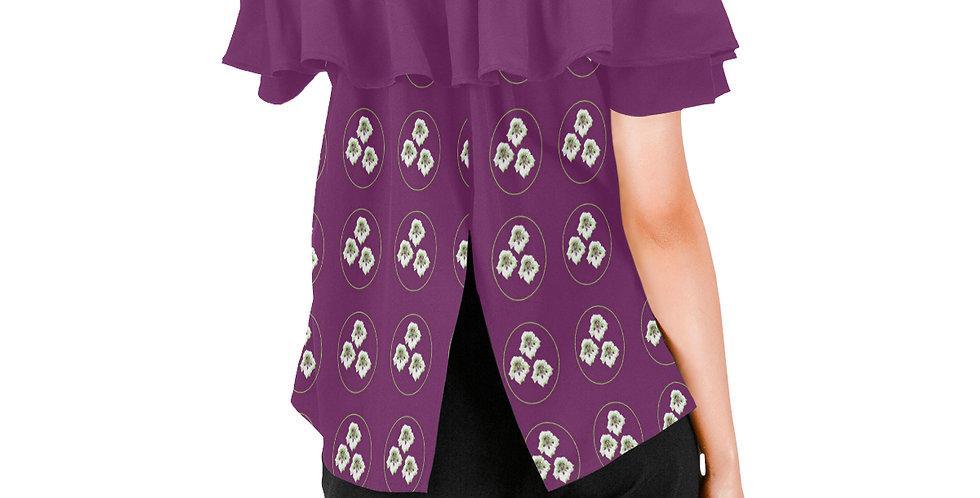 Purple Nasturtium - Women's Chiffon Blouse