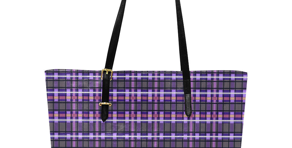 Tartan Terror Purple/Mauve - Large Tote Bag