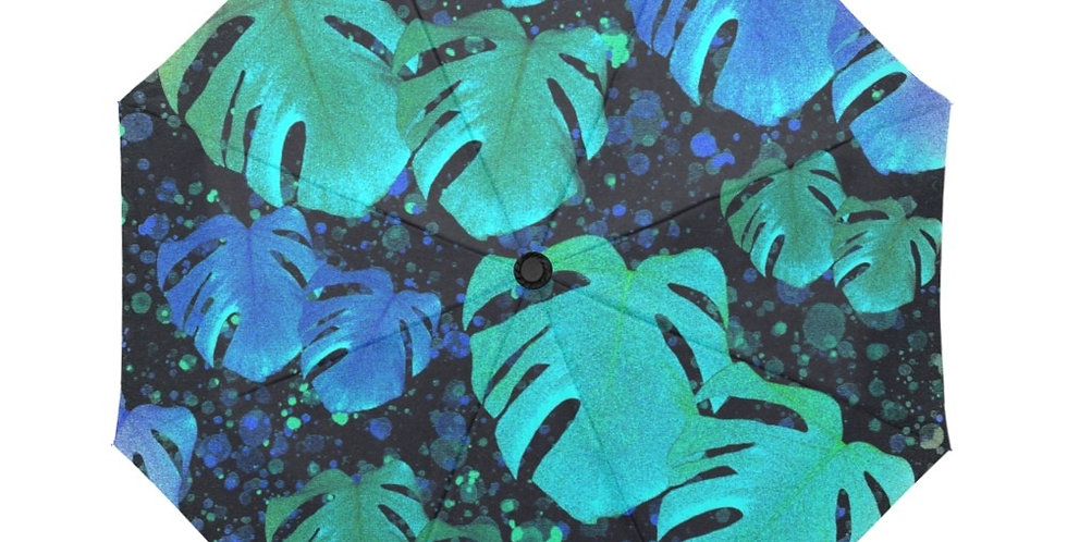 Monstera Leaves Midnight - Botanical Umbrella