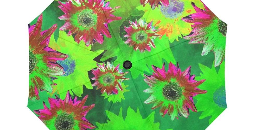 Strawflower Sizzle Green/Pink - Botanical Umbrella
