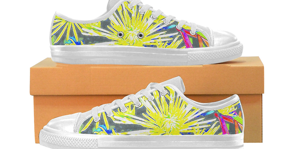 Yellow Chrysanthemums - Women's Canvas Sneakers