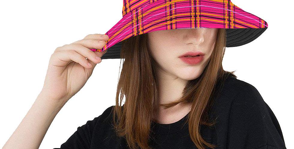 Tartan & Poppies - Orange & Pink - Tartan - Bucket Hat