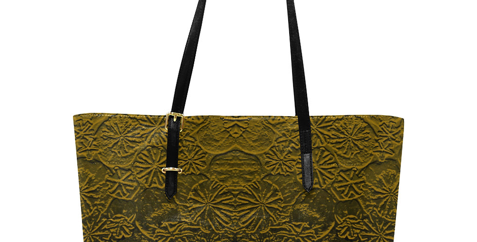 Embossed Poppies Copper - Large Tote Bag