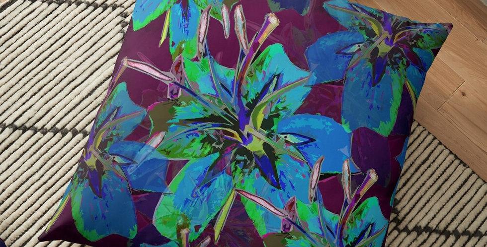 Luscious Liliums - Blue / Purple - Cushion Cover