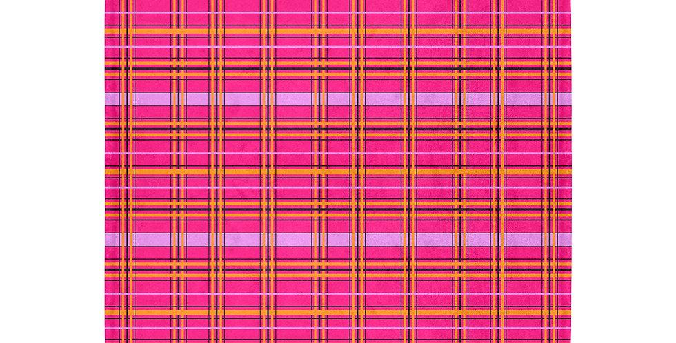 Tartan Poppies - Tartan - Orange/Pink - Blanket