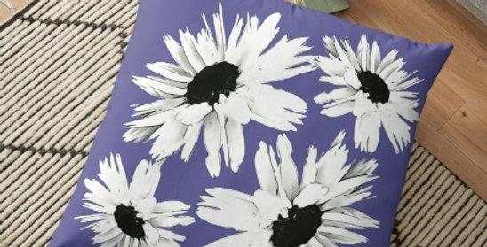 Daisy Love Deep Blue - Cushion Cover