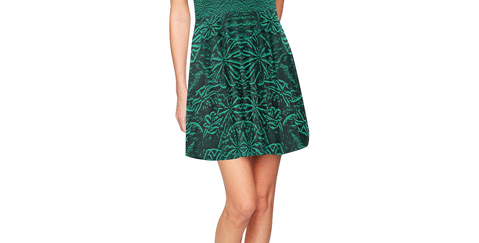 Embossed Poppies Emerald Green - Skater Dress