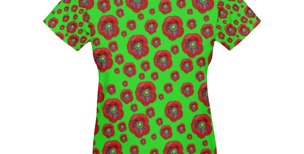 Poppies Green/Red - T-shirt