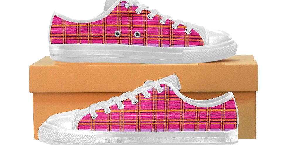 Tartan & Poppies - Orange & Pink - Tartan - Women's Canvas Sneakers