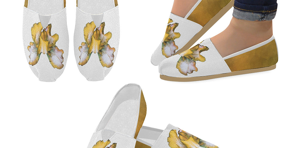Bearded Iris Yellow - Slip On Canvas Shoes