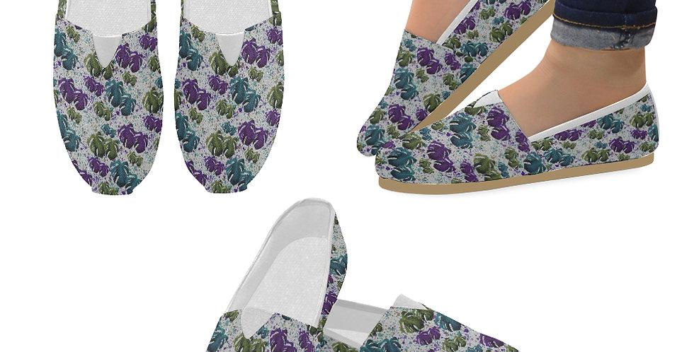 Monstera Leaves Teal/Purple - Slip On Canvas Shoes
