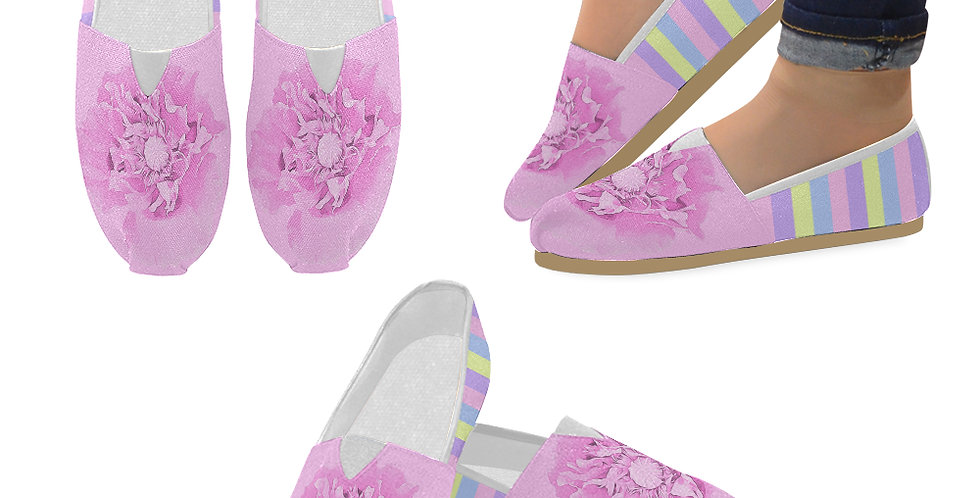 Pastel Poppies - Pink Poppy and Pastel Stripes - Slip On Canvas Shoes