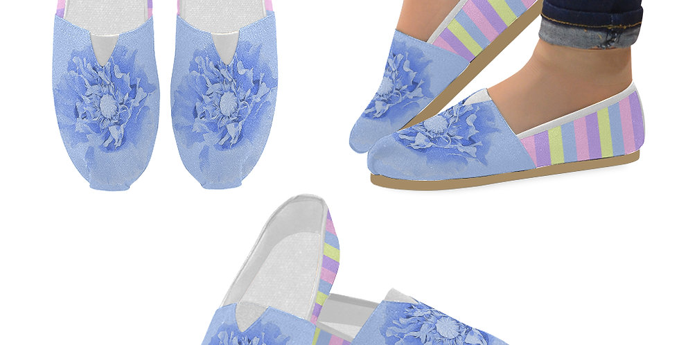 Pastel Poppies - Blue Poppy and Pastel Stripes - Slip On Canvas Shoes