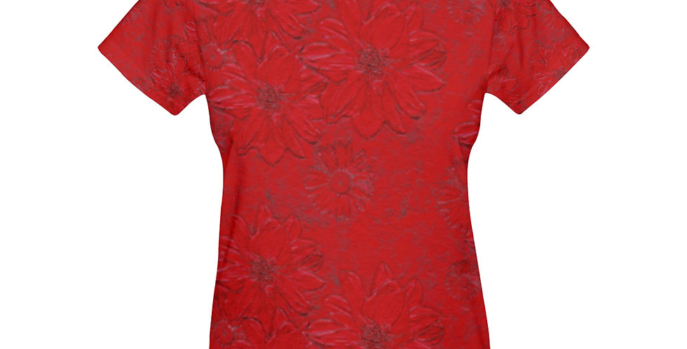 Red Embossed Floral - T-shirt