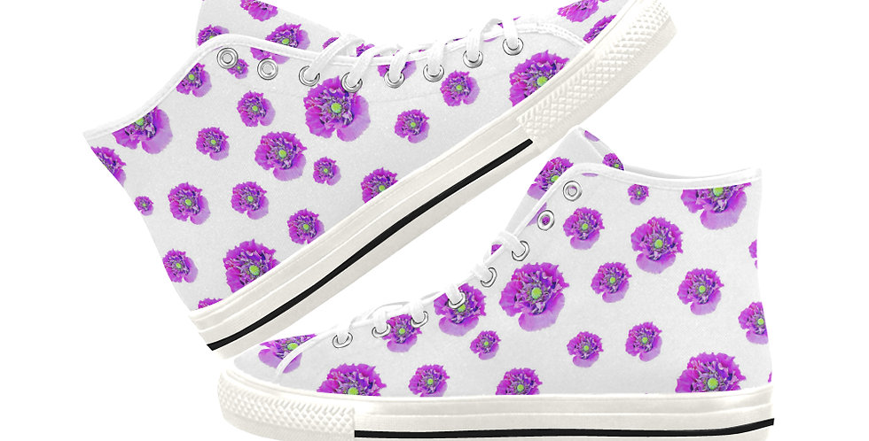 Pink Poppies -  Women's High Top Canvas Sneakers