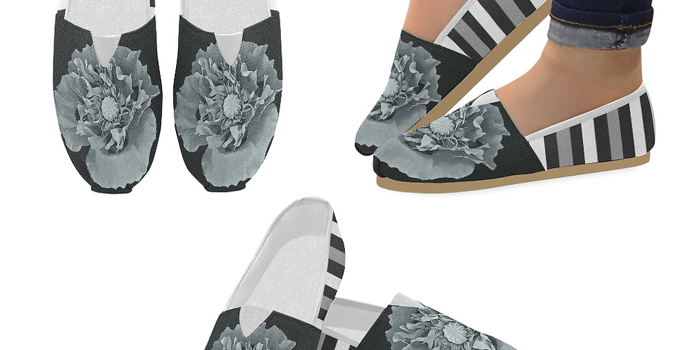 Botanical Poppy with Stripes - Slip On Canvas Shoes