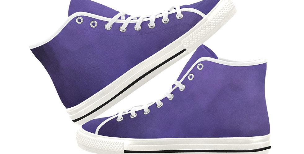 Bearded Iris Purple - Women's High Top Canvas Sneakers