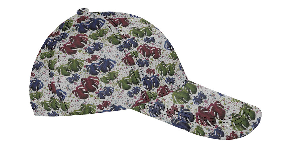 Monstera Leaves Red & Blue - Baseball Cap