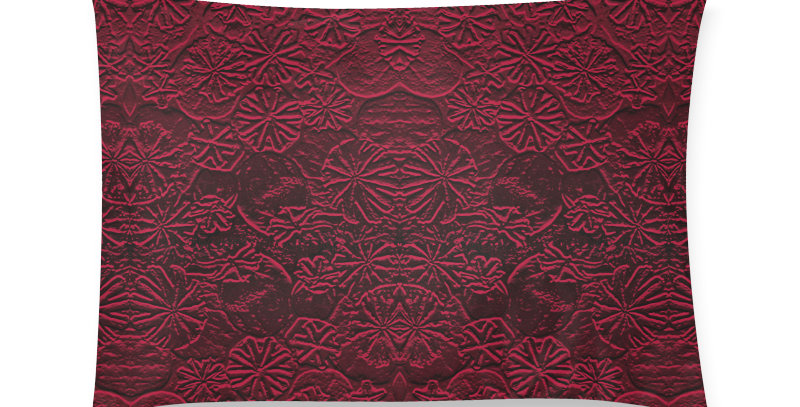 Embossed Poppies Ruby Red - Cushion Cover